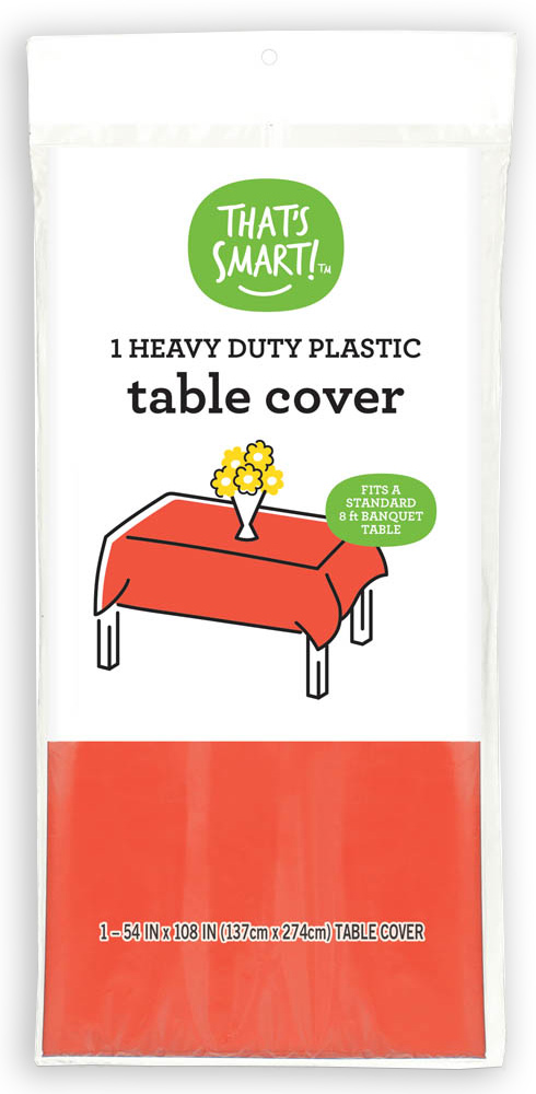 That's Smart! heavy duty plastic table cover - tangerine