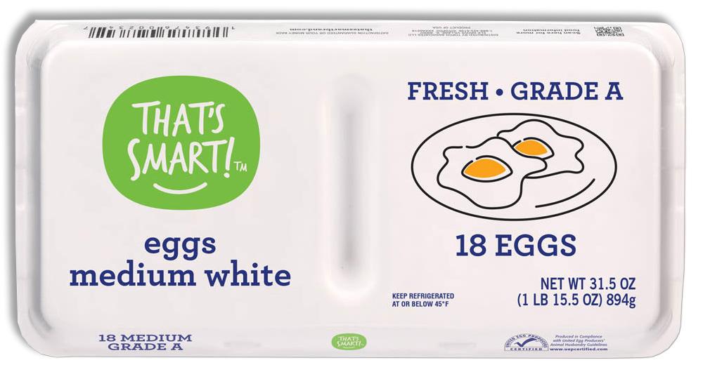 That's Smart! Grade A Medium White Eggs
