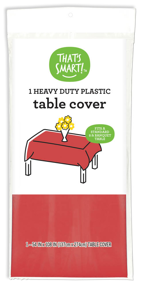 That's Smart! heavy duty plastic table cover - red