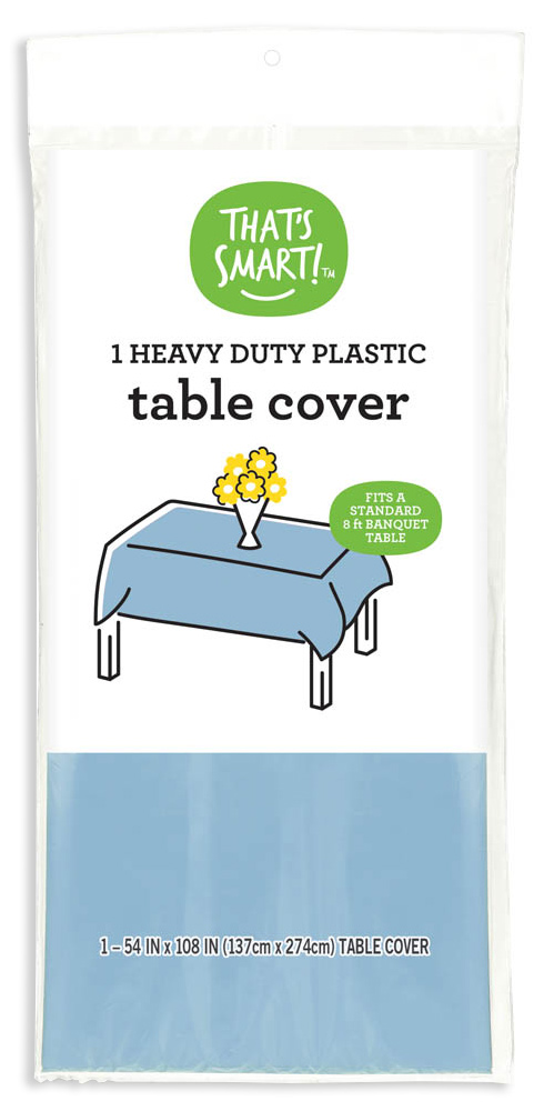 That's Smart! heavy duty plastic table cover - light blue