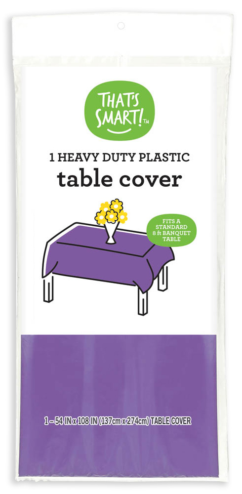 That's Smart! heavy duty plastic table cover - purple